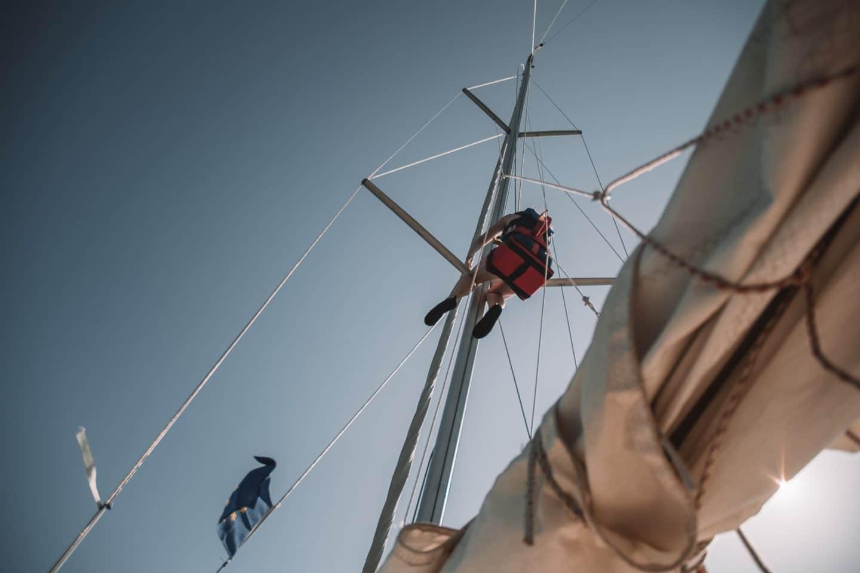 monter sur le mât d'un bateau